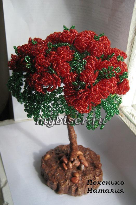 Дерево из бисера делоникс